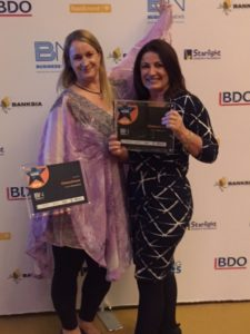 Julie Adams and Lorna Cook celebrating a fabulous night at the Business News Awards
