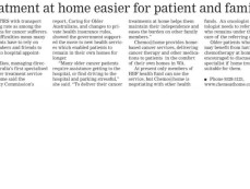 Treatment at home is easier for patients and family – The Senior, 4th September 2013